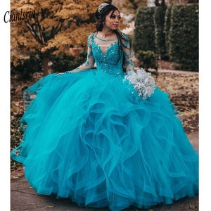 Light Blue Long Sleeve Tulle Ruffles Ball Gown Quinceanera Dresses Open Back Appliques Lace Beading Sweet 16 Party Dresses