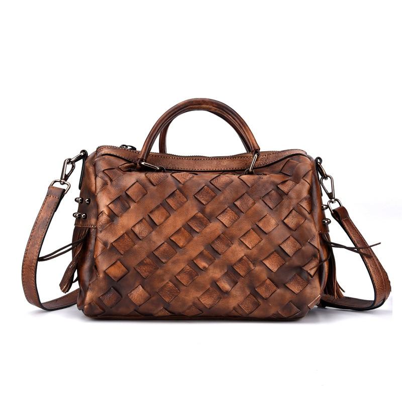 Сумка-мессенджер женская из натуральной кожи, дизайнерские сумки на плечо с ручками сверху, тоут из воловьей кожи с узором под кожу крокодил...
