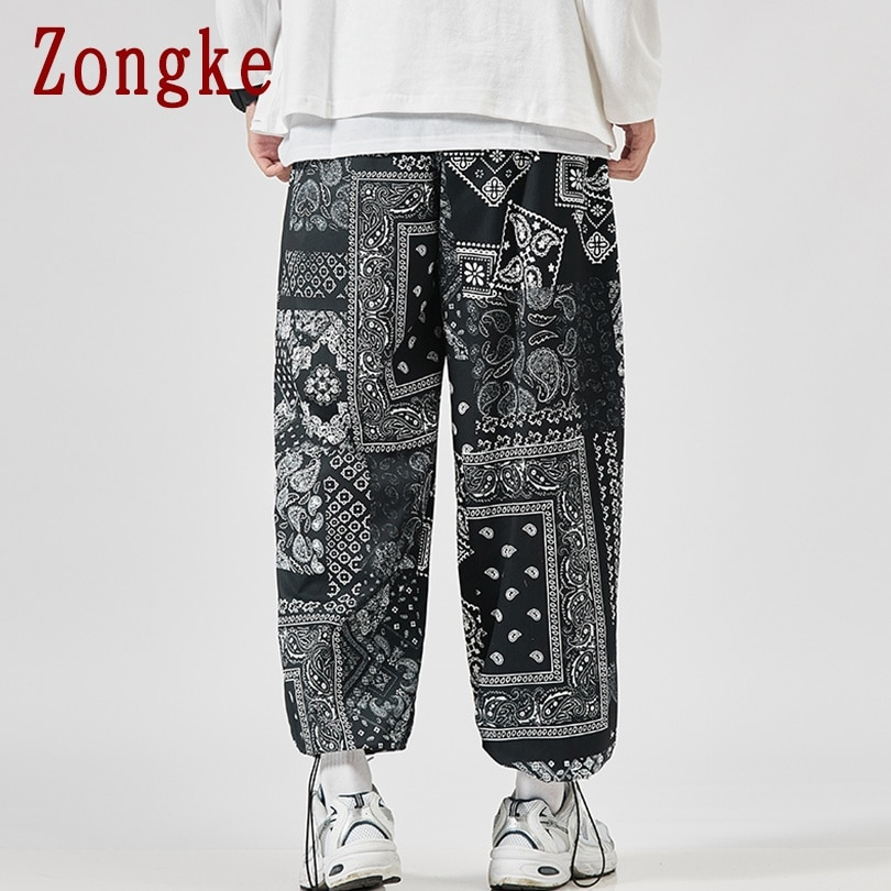 Zongke Ankle-Length Casual Harajuku Pants Men Clothing Japanese Streetwear Men Pants Korean Style Mens Pants Hip Hop M-5XL 2021