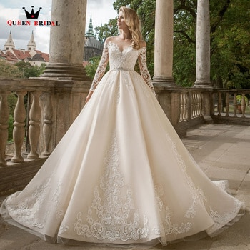 Elegant Ball Gown Wedding Dresses Long Sleeves Tulle Lace Crystal Belt Formal Bridal Gown 2022 New Design Custom Made DS38