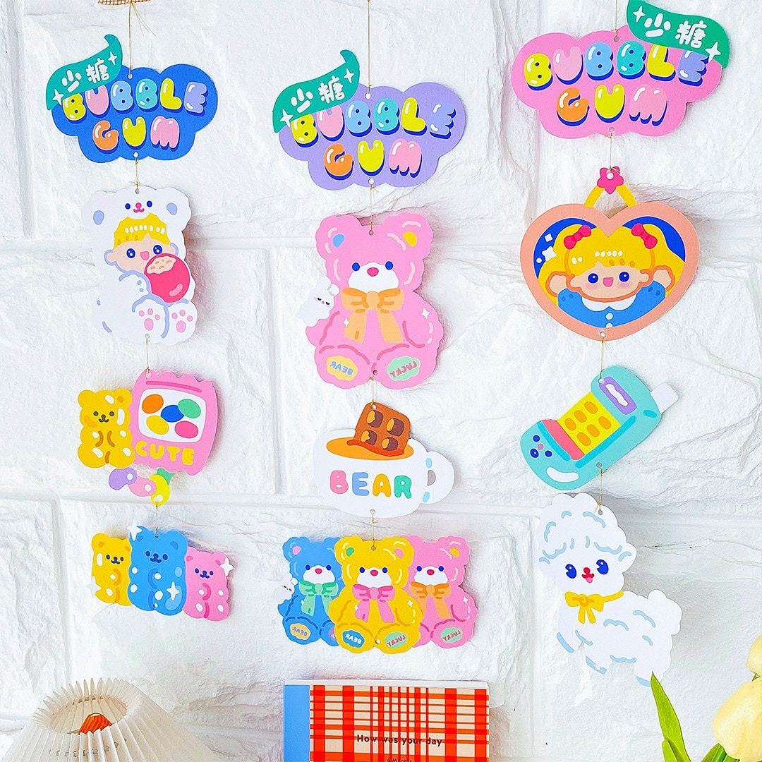 1Set Kawaii Bear Room Hanging Card Party Garland Ornament Decoration Dormitory Room Hanging Deco Party Supplies