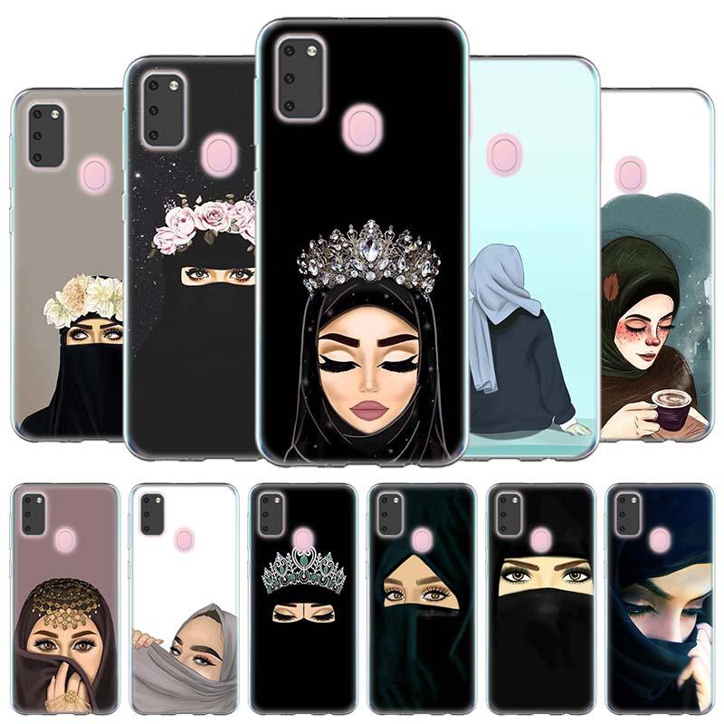 Carcasa de silicona funda para Samsung Galaxy A10e A20s A30 A40 A50 A60 A70 A80 A51 A71 de la cáscara del teléfono de mujer en Hijab cara corona