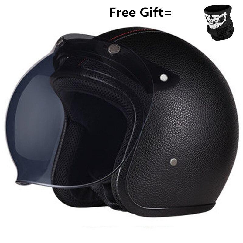 Motocicleta Scooter, máscara abierta, DOT-negro, cuero Pu, grande