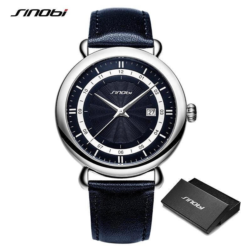 Sinobi New Luxury Men's Genuine Leather Watches 100% Stainless Steel Business Quartz Wristwatch Male Sports Clock reloj hombre