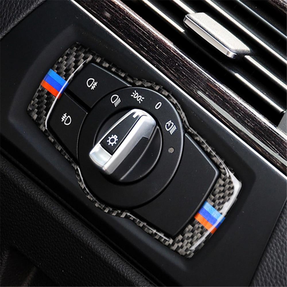 Fibra de carbono interruptor de faro marco interruptor cubierta embellecedor para BMW Serie 3 E90 E92 E93 2005-12 pegatina negra de alta calidad
