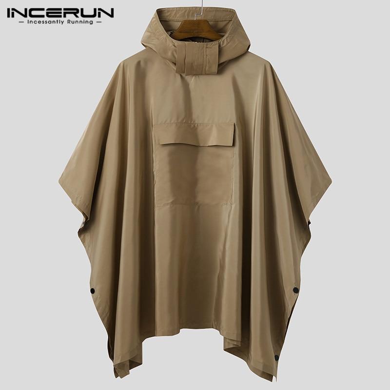 INCERUN الرجال بلون المعطف بلوزات سريعة الجافة مقنعين جيوب فضفاضة الموضة رداء غير رسمي في الهواء الطلق الرجال غير النظامية هوديس
