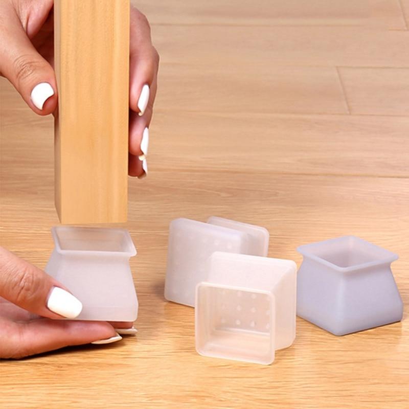4 unids/set de tapas de silicona para patas de sillas, guantes de tubo redondo antideslizantes, alfombrilla para mesa, escritorio, silla, almohadilla de protección de los pies, accesorios para muebles