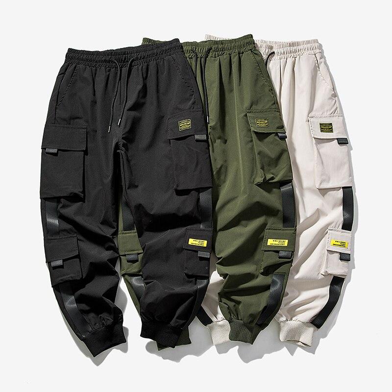 2021 New Hip Hop Joggers Cargo Pants Men Harem Pants Multi-Pocket Ribbons Man Sweatpants Streetwear