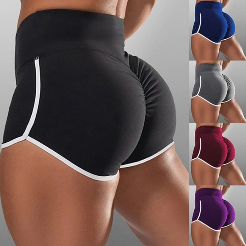 2020 New Women Gym Fitness Tight-fitting Yoga Shorts Hip Elastic Sports Casual Women's High Waist Sports Short