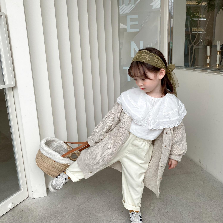 8553 ملابس الأطفال سترة معطف طويل سترة 2021 الخريف الشتاء جديد الكورية منتصف طويلة سترة معطف موضة فتاة البلوزات