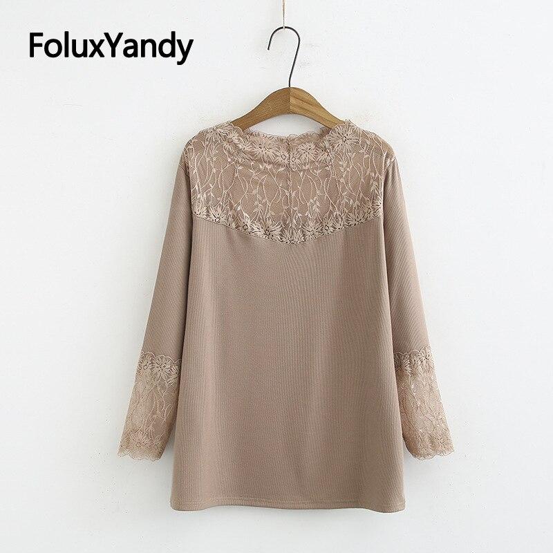 Camiseta de manga larga de primavera y otoño para mujer, camiseta de talla grande 3 4 5 6 XL, camisetas de encaje informal con retazos KKFY4277