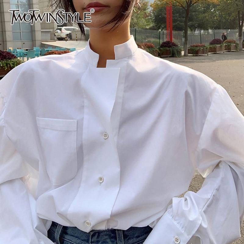 Twotwinstyle elegante perspectiva camisa feminina gola puff manga longa tamanho grande solto blusa feminina 2020 moda nova