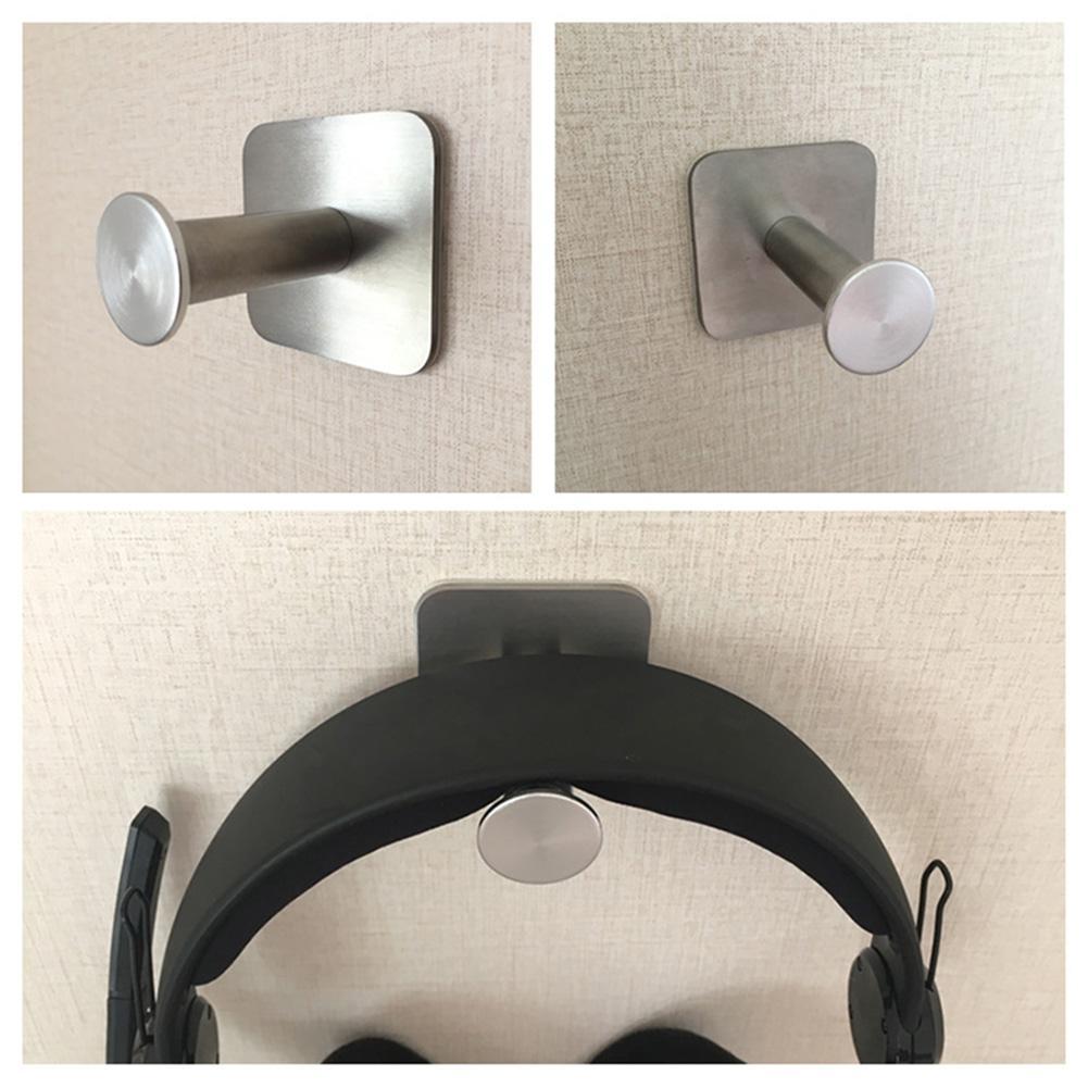 Soporte para auriculares de acero inoxidable soporte para auriculares portátil gancho Universal para montaje en pared de escritorio para auriculares de parque (con pegatina)