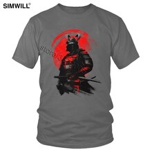 Fashion Samurai Warrior T-Shirt Retro Cool Katoen Zwaardvechter Tee Mannen Korte Mouwen Ronde Hals T-shirt Japan Anime Bushido Tshirt