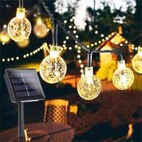 32FT 20/50 светодиодный S хрустальный шар 5 м/10 м Солнечная лампа Мощность светодиодный светящиеся гирлянды на солнечной энергии Сад Рождественс...