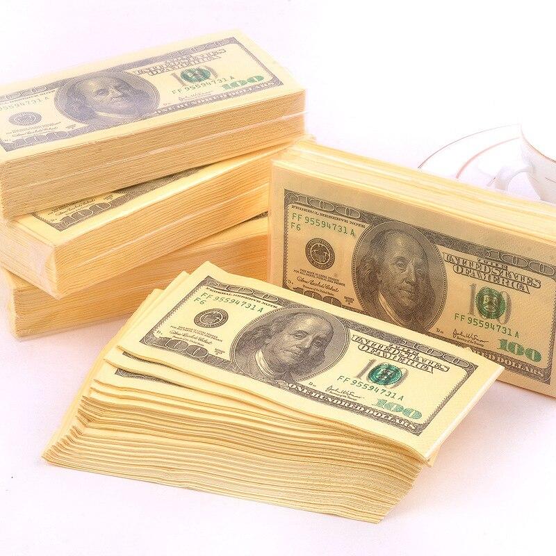 3 camadas 80 pçs moeda tecido dólares euro cor guardanapo engraçado notas de papel pano boca 11 dólar tirano contas