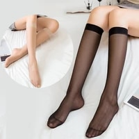 12pair knee high transparent stockings sexy crystal silk nylon stockings ladies female women summer style long stockings
