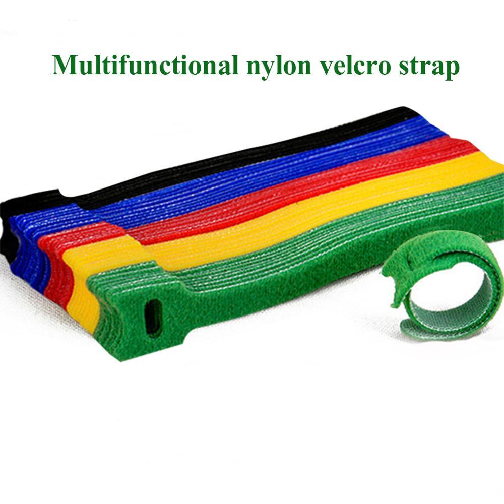 50pcs T-type Velcro Cable Tie Wire Reusable Cord Organizer Wire 15*1.2cm Colorful Computer Data Cabl