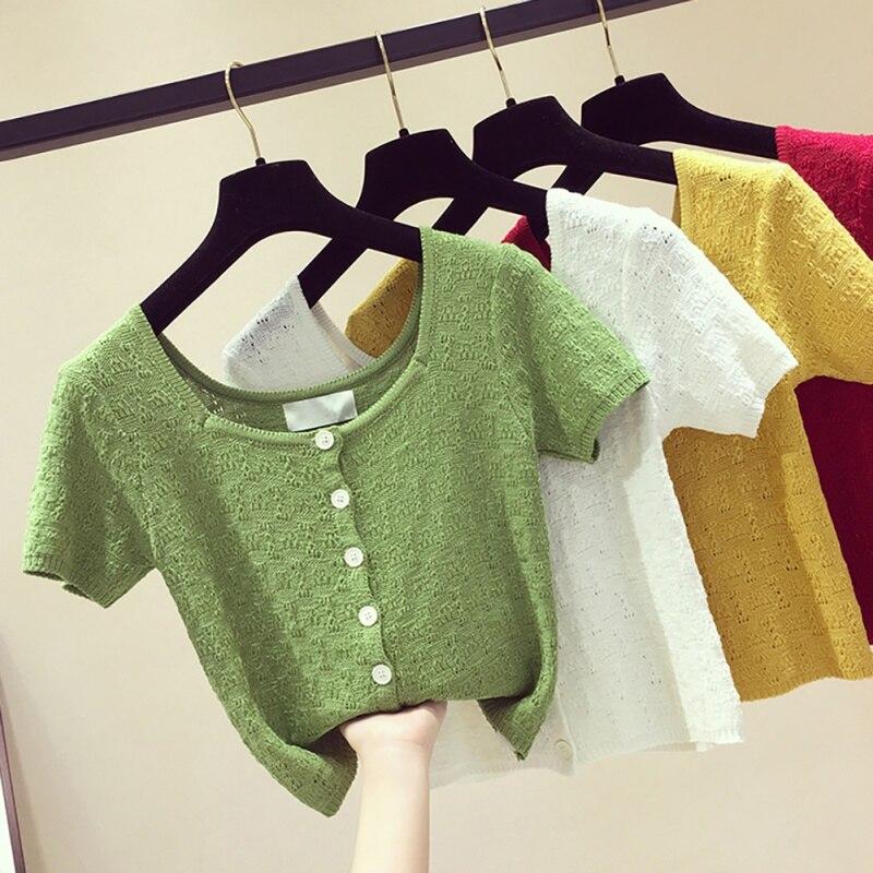 Jlong Women Hollow Out Short Sleeve Crop Top Summer Button T-shirts Knitted Plain Casual T-shirt