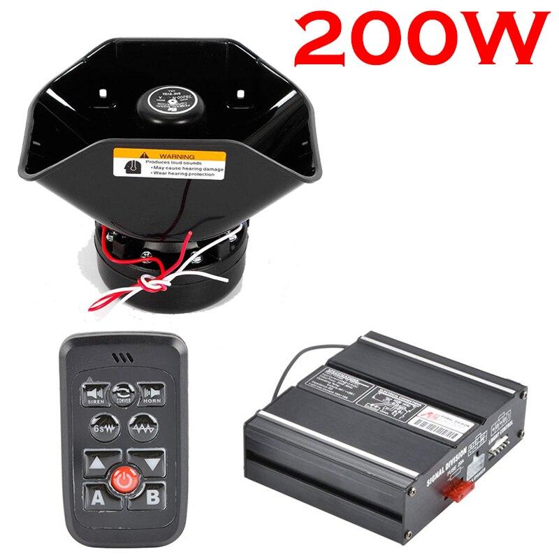 200w 8 som do carro alto-falante e caminhão aviso de alarme da polícia sirene chifre ambulância emergência eletrônico chifre kit pa mic sistema