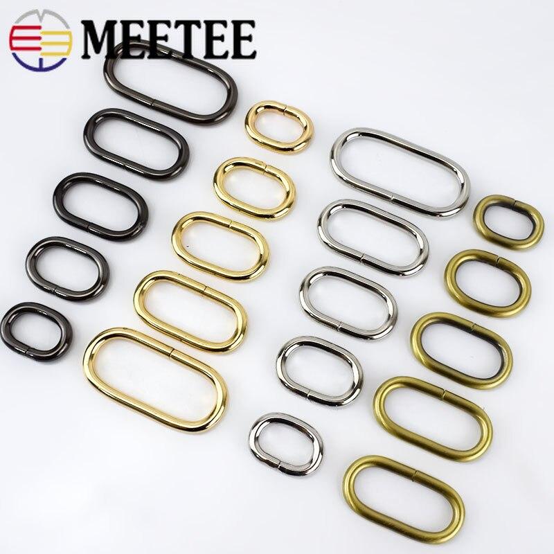 Meetee 10/30 pces 20-50mm metal o anel saco cinta cinto webbing laço fecho fivelas para sacos roupas diy costura acessórios ap365