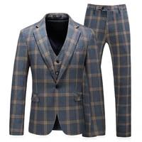 mens new slim lattice single breasted suit mens fashion urban regular gun collar party three piece mens suit