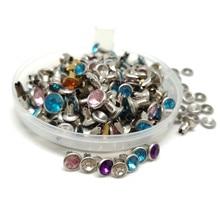 6MM 100SETS Multicolor Strass Kristall Nieten DIY Kleidung Tasche Leder Handwerk Dekoration Garment Nähen Bohrer Nagel Taste