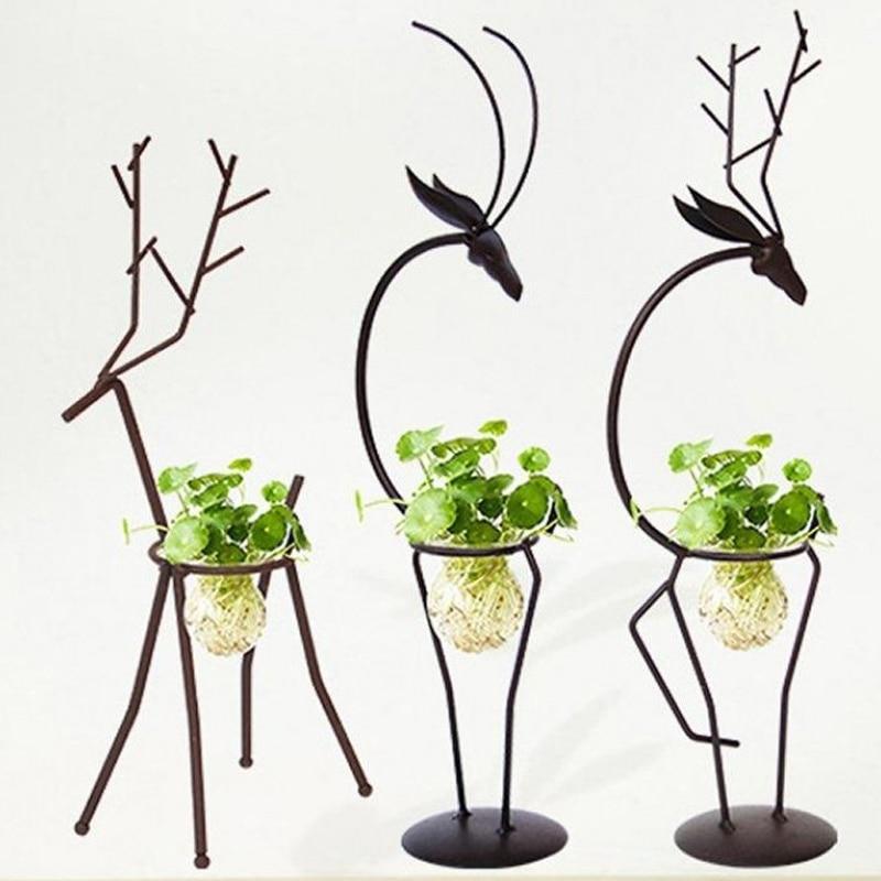 Florero resistente hidropónico contenedor planta soporte hierro No suelo decoración de la Oficina familia flor soporte hierro ciervo marco
