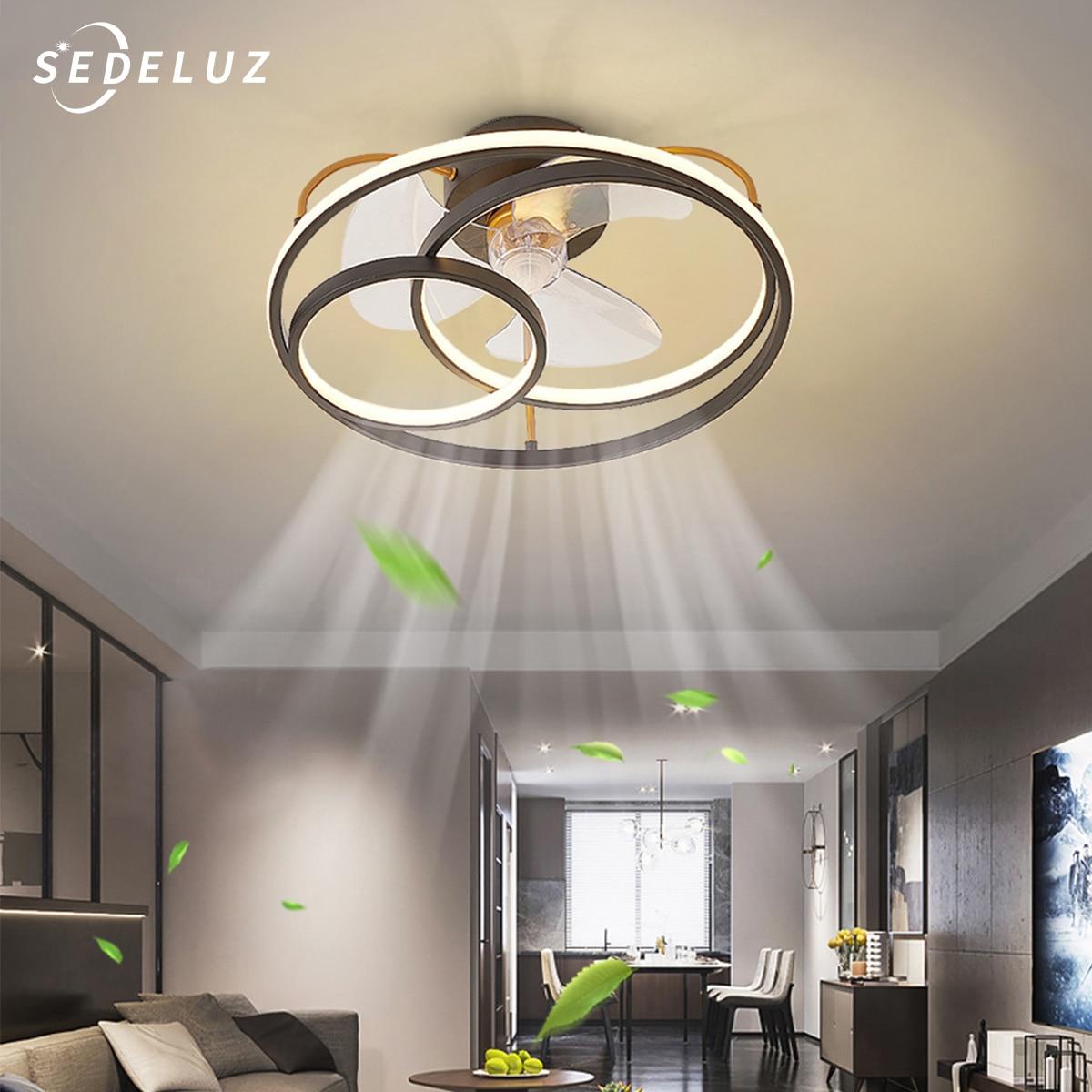 LED مروحة سقف مصباح الحديثة الحد الأدنى مصباح السقف غرفة الطعام غرفة نوم مصباح لغرفة المعيشة مروحة مستديرة ضوء