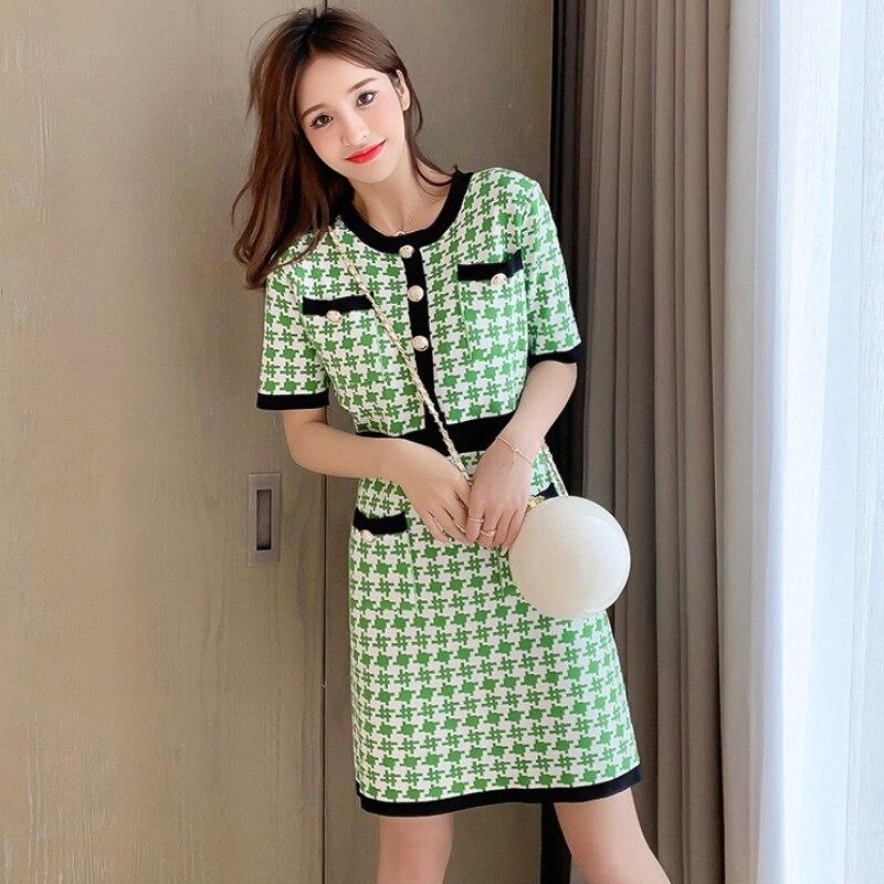 2020 vintage verão verde houndstooth malha vestido feminino botão dourado manga curta o-pescoço mini vestido xadrez