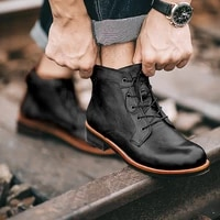 spring martin ankle boots men pu leather shoes lace up waterproof walk cowboy western casual vintage tooling motorcycle men boot