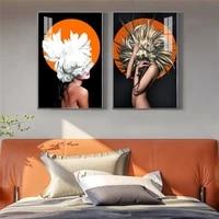 Toile de peinture de femme avec plume de fleur  a la mode moderne  silhouette abstraite  affiche dart murale imprimee  image pour decor de maison de salon