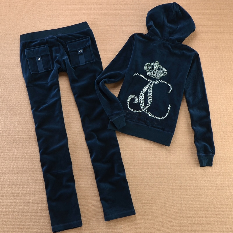 ربيع خريف 2021 المرأة العلامة التجارية رياضية قماش مخملي المرأة البدلة القطيفة رياضية بلوزات وسراويل حجم XS-XXXL