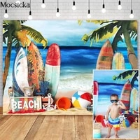 summer beach backdrops surfboard toy decoration children birthday cake smash photo props studio booth background photoshoot