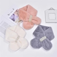 2021 new fashionable soft pearl faux fur scarf women winter thick warm neck collar scarves ladies girl elegant nice accessories