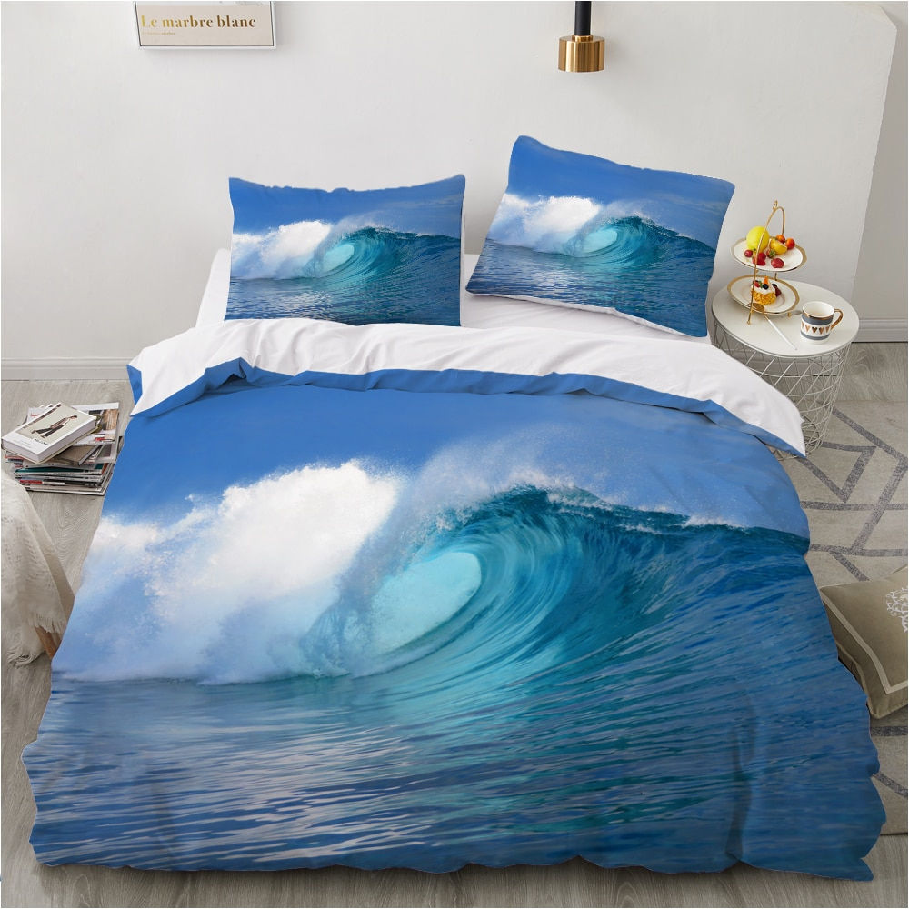 روسيا حجم طقم سرير مجموعات الأسرة اليورو 2.0 مجموعة غطاء لحاف مع ورقة للمنزل أغطية سرير طقم سرير المشهد البحر