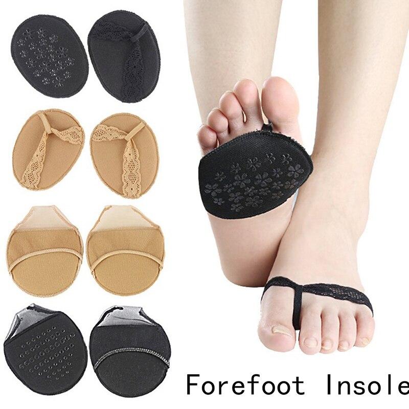 12 estilos de moda rendas volta nu feminino antepé palmilhas salto alto chinelo invisível não deslizamento meia quintal almofada sapato palmilhas