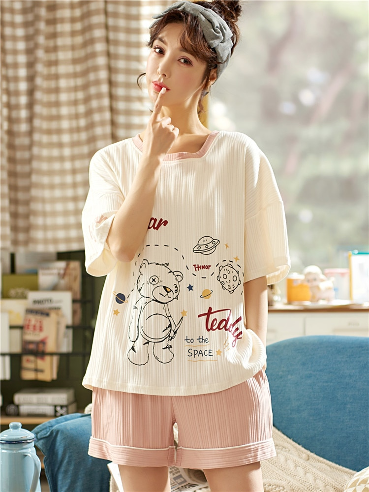 Summer Pajamas Women's Short Sleeved Pure Cotton 2021 New Summer All Cotton Thin Cute Sweet Home Clo