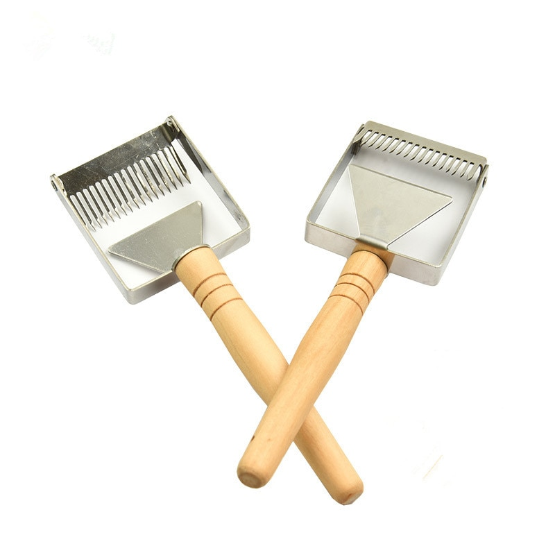 Aguja de mango de madera, cuchillo de miel, cortador de pala dispersa, raspador de miel, pala de abeja, peine, desenredar, tenedor, Herramientas de Apicultura