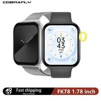 smart watch men women series 6 1 78 inch screen bluetooth compatible call heart rate fitness iwo watches pk fk88