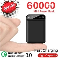 mini portable power bank with dual usb ports outdoor emergency external battery 60000mah power bank for xiaomi samsung lphone