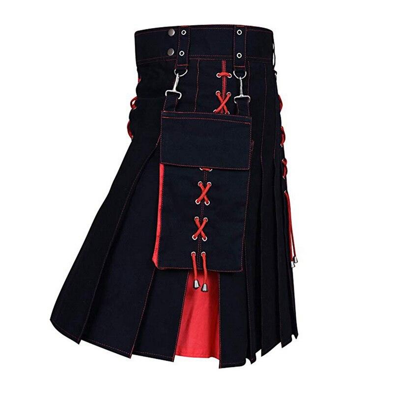 JODIMITTY 2020 nueva utilidad Kilt Hybrid pantalones vaqueros modernos de algodón Kilt para los hombres escoceses tradicional Retro diseño Vintage falda