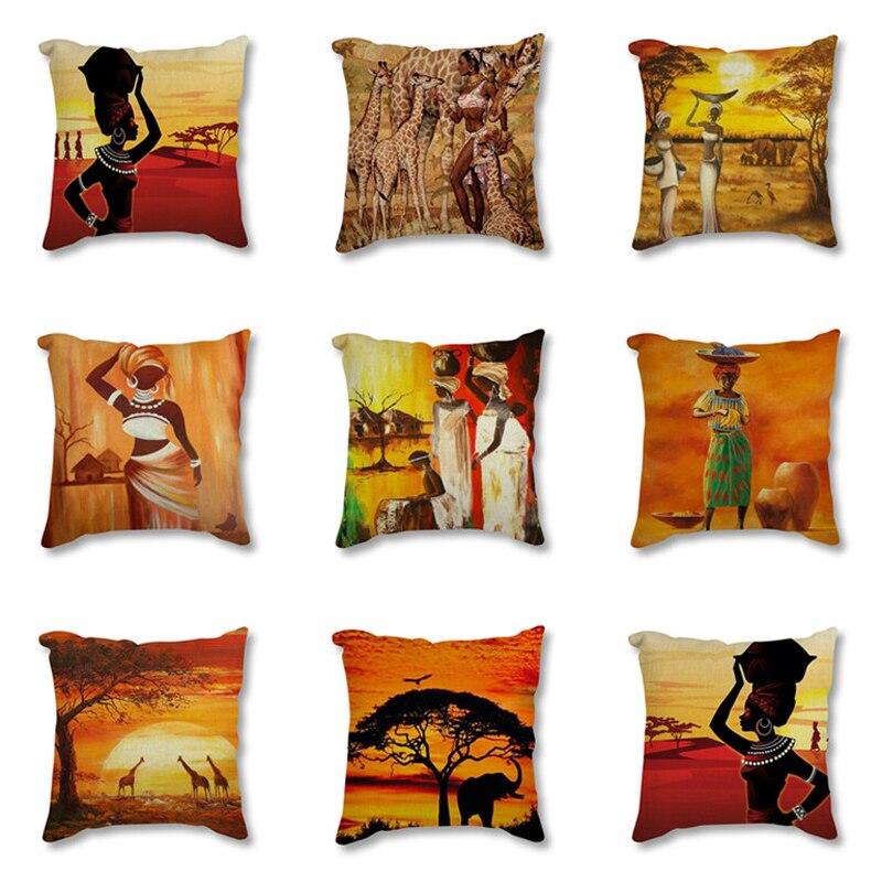 Funda de cojín decorativo de lino y algodón para cojín decorativo de estilo exótico con impresión africana de arte de pintura africana para sofá
