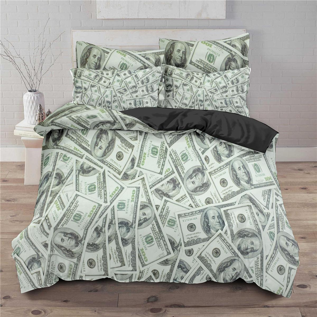 طقم أغطية سرير فاخرة ، طقم سرير مطبوع بالدولار ، غطاء لحاف ناعم مع أغطية وسائد ، منسوجات منزلية مريحة ، مقاس كينغ/كوين