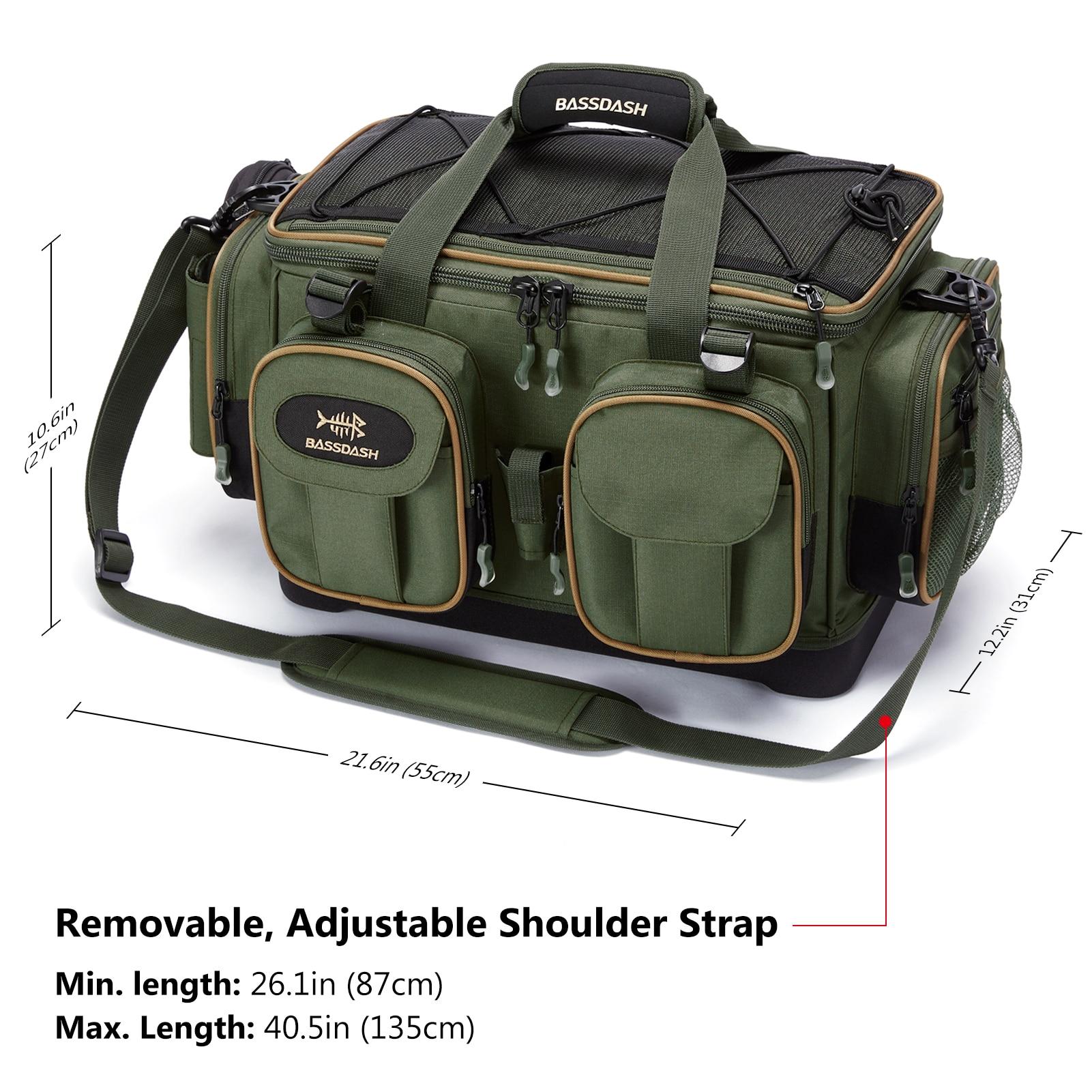 Fishing Tackle Shoulder Bag Water Resistant Lightweight Gear Storage Pack with Hard Molded Bottom Rain Cover enlarge
