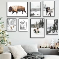 snow forest house highland cattle moose wall art canvas painting nordic posters and prints wall pictures for living room decor