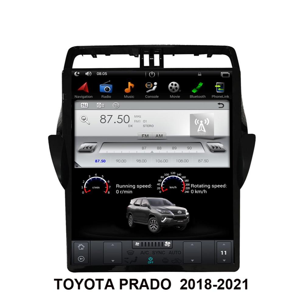 Android 9.0 Car GPS Navigation Tesla Style For TOYOTA PRADO 2018-2022 Auto Radio Multimedia Player H