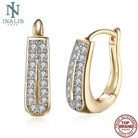 inalis double row zirconia stud earrings for women personality romantic fashion jewelry earring classic party gift new arrivals