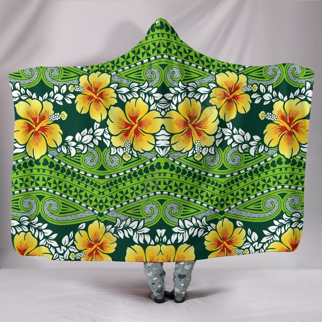 بطانيات بولينيزية بغطاء للرأس بنقوش كركديه بولينيزية بطباعة ثلاثية الأبعاد يمكن ارتداؤها بطانية بغطاء للرأس للكبار والأطفال