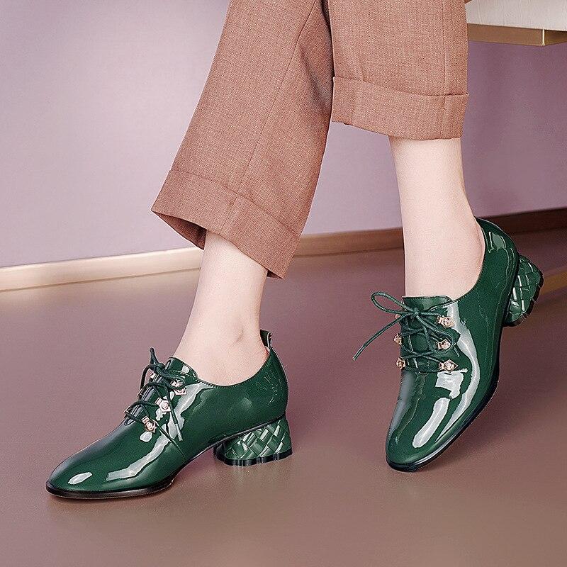 الأخضر الدانتيل يصل النساء مضخات كعب أحذية مستديرة رئيس مكتب موجزة النساء الأوسط الكعوب حجم كبير 41 براءات الاختراع والجلود Zapatos دي موهير